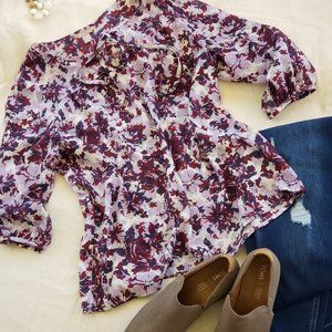 Purple Floral Blouse 3/4 sleeves